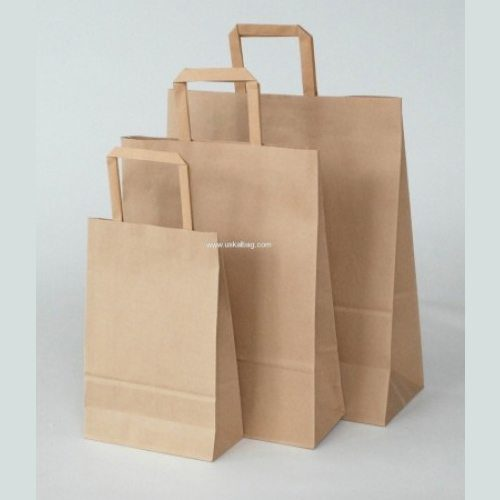 "17"" Brown Flat Handle Paper Carrier Bag - Packaging Direct"