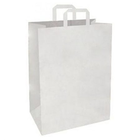 17 White Flat Handle Carrier Bag - Packaging Direct