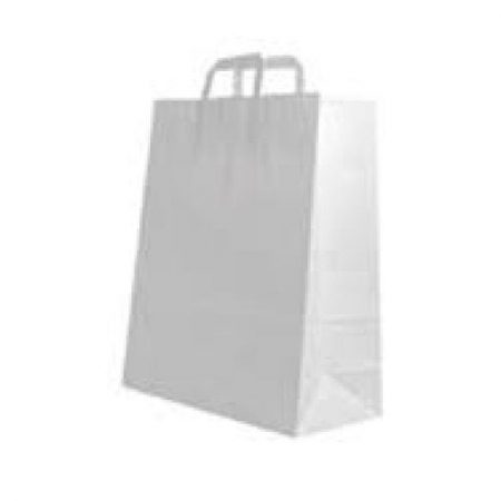 "19"" White Flat Handle Paper Carrier Bags - Packaging Direct"